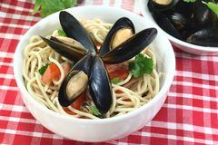 Spaghetti with mussels Royalty Free Stock Photos