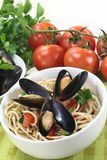 Spaghetti with mussels Stock Photo