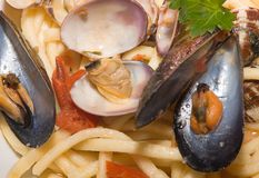 Spaghetti with the mussels. A flat spaghetti with the mussels and the clams Stock Photo