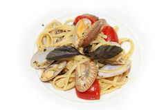 Spaghetti with mussels in bowls Royalty Free Stock Image
