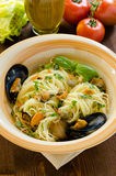 Spaghetti with mussels and capers Royalty Free Stock Image