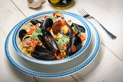 Spaghetti with mussels and clams Stock Image