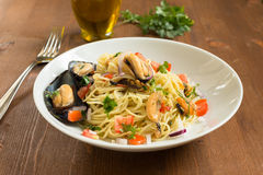 Spaghetti with mussels Stock Photography
