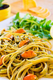 Spaghetti with mussels meat and pesto Stock Photography
