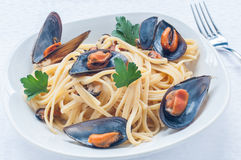 Spaghetti with mussels tomato Stock Images