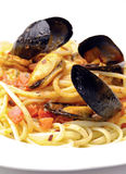 Spaghetti with mussels Royalty Free Stock Photo