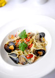 Spaghetti with mussles Stock Photos