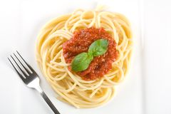 spaghetti na kolację fotografia stock