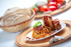 Spaghetti with Neaplolitan Ragu Sauce Stock Images