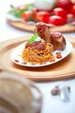 Spaghetti with Neaplolitan Ragu Sauce Stock Photos