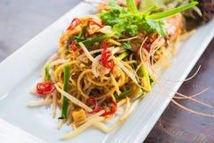 Spaghetti nello stile tailandese del cuscinetto Fotografia Stock
