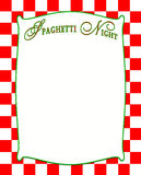 Spaghetti Night Background in Red Checkered Pattern. Red checkered design with white insert with green border and text inside, Spaghetti Night. (Italian Style Stock Images