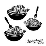 Spaghetti or noodle icons. Spaghetti or noodle with fork black icons Stock Photo