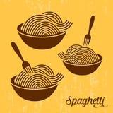 Spaghetti or noodle retro icons Royalty Free Stock Photos