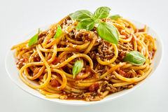 Spaghetti noodles with Bolognese sauce and basil Royalty Free Stock Image
