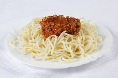 Spaghetti. Noodles with meat sauce Stock Images