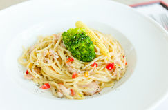 Spaghetti noodles pasta meal. Lunch time Royalty Free Stock Photography