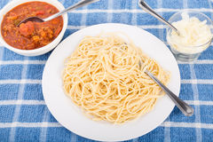 Spaghetti Noodles Ready for Sauce Stock Image