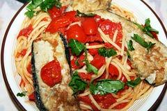 Spaghetti oberżyny Zdjęcia Royalty Free