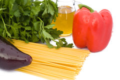 Spaghetti, Oil And Vegetables stock photo