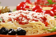 Spaghetti with olives and sauce Royalty Free Stock Photo