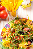 Spaghetti with olives, tomatoes and herbs Stock Photography