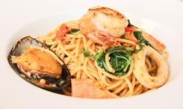 Spaghetti owoce morza Obrazy Stock