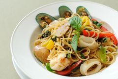 Spaghetti owoce morza Khi Mao Obraz Stock