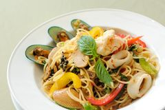 Spaghetti owoce morza Khi Mao fotografia royalty free