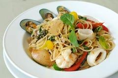 Spaghetti owoce morza Khi Mao Zdjęcia Royalty Free