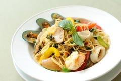 Spaghetti owoce morza Khi Mao Obrazy Royalty Free