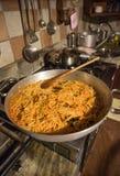 Spaghetti in the pan Stock Photos