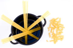 Spaghetti in a pan and macaroni Stock Photography