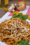 Spaghetti with parmesan cheese and basil. Garnishing the plate.  Background has onion and mushrooms with uncooked pasta noodles Royalty Free Stock Photos