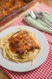 Spaghetti with Parmigiana di melanzane Stock Photography