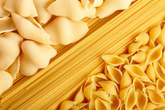 Spaghetti and pasta. Mixed raw spaghetti and pasta background Stock Photography