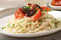 Spaghetti pasta. With tomato beef sauce Royalty Free Stock Images