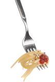 Spaghetti pasta. And tomato sauce twirled on a fork stock images