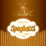 Spaghetti. pasta. Bakery. labels, pack for spaghet Stock Photos