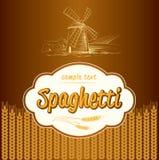Spaghetti. pasta. Bakery. labels, pack for spaghet. Windmill on the field. labels, pack for spaghetti, pasta Royalty Free Illustration