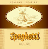 Spaghetti. pasta. Bakery. labels, pack for spaghet. Windmill on the field.  labels, pack for spaghetti, pasta Stock Photo