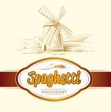 Spaghetti. pasta. Bakery. labels, pack for spaghet. Windmill on the field. labels, pack for spaghetti, pasta Vector Illustration