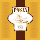 Spaghetti. pasta. Bakery. labels, pack for spaghet. Windmill on the field.  labels, pack for spaghetti, pasta bread Stock Images