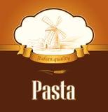 Spaghetti. pasta. Bakery. labels, pack for spaghet. Windmill on the field. labels, pack for spaghetti, pasta bread Royalty Free Illustration