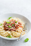 Spaghetti pasta with bolognese sauce and  parmesan cheese Royalty Free Stock Photography