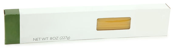 Spaghetti Pasta Box Blank Label Stock Photos
