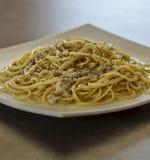 Spaghetti Pasta Cacio e Pepe Cheese and Pepper. stock photography