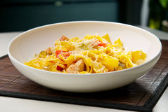 Spaghetti pasta with cheese, chicken and tomato Royalty Free Stock Photo