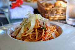 Spaghetti. Pasta / spaghetti with cheese in white bowl royalty free stock images