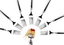 Spaghetti pasta on a fork royalty free stock photos